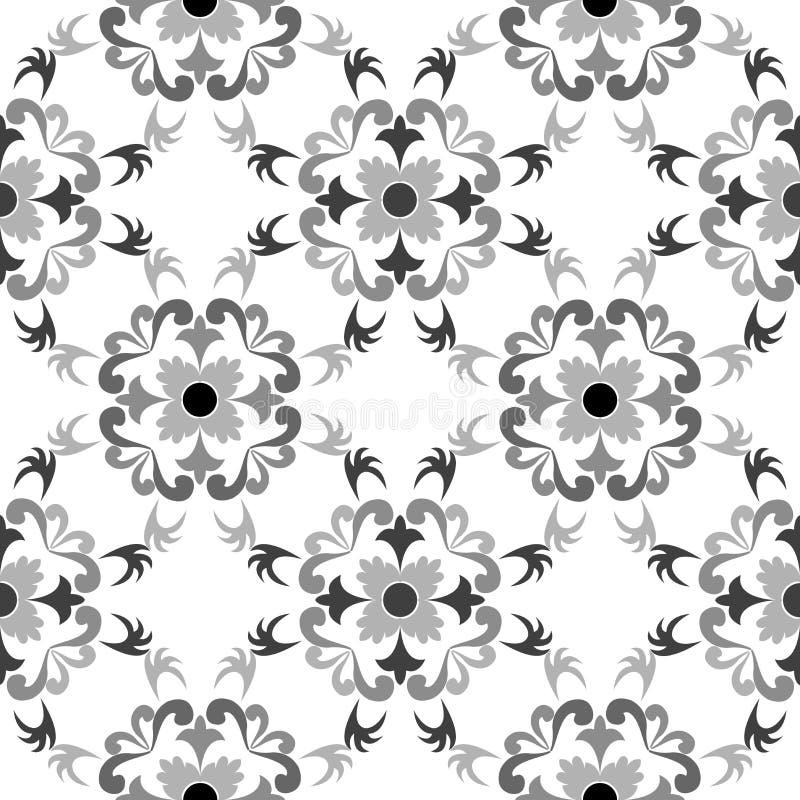 Teste padrão floral sem emenda preto e branco ilustração royalty free