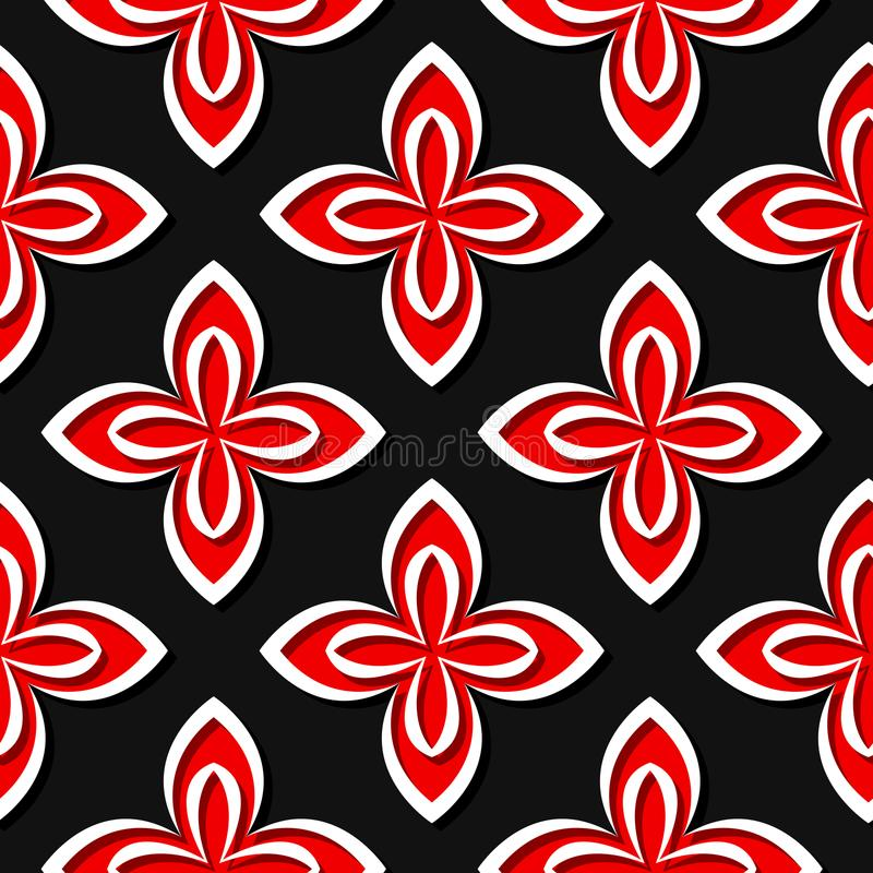 Teste padrão floral sem emenda Projetos 3d vermelhos e pretos ilustração stock