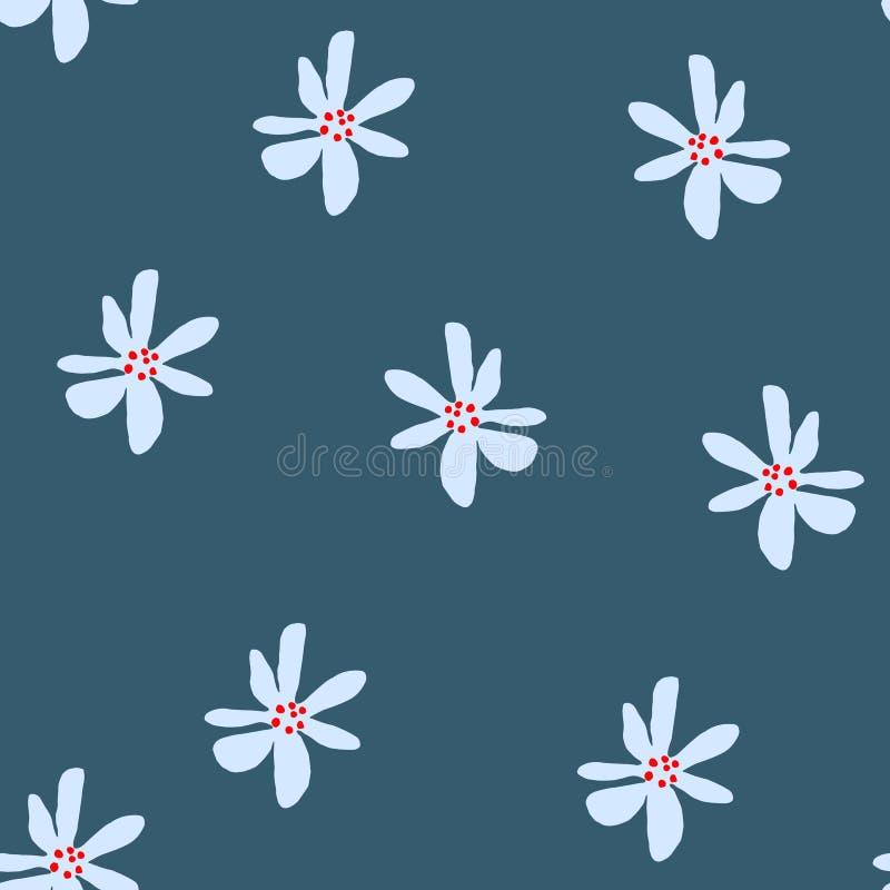 Teste padrão floral simples bonito com a flor da margarida no azul ilustração royalty free