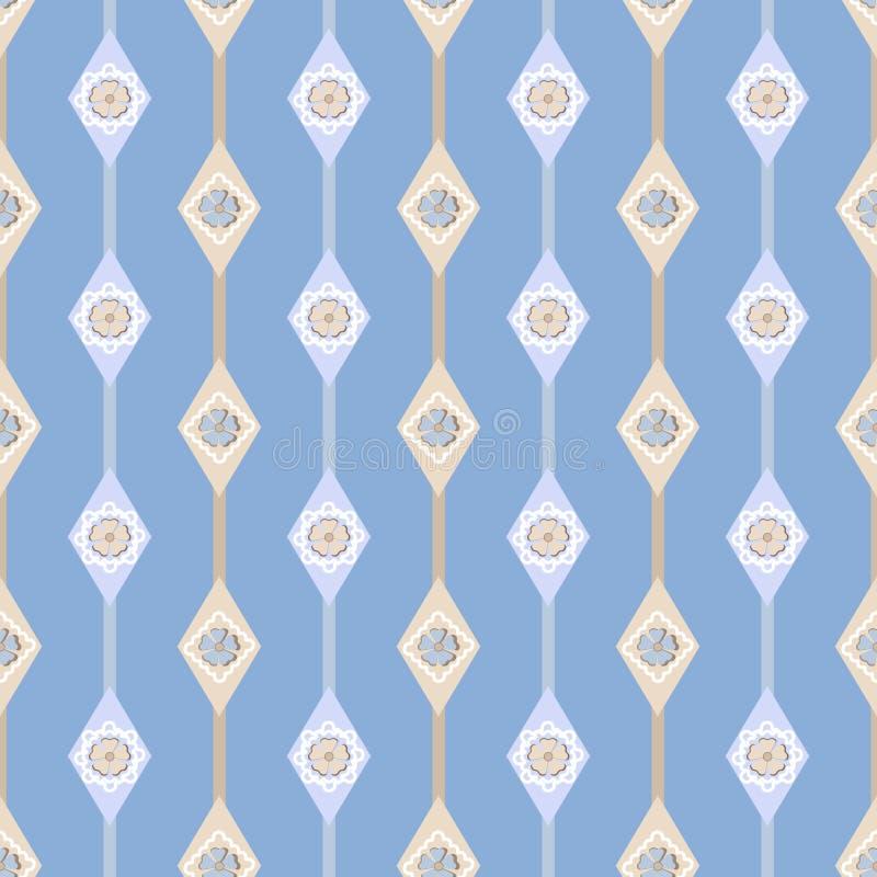 Teste padrão floral simples ornamentado sem emenda com os vagabundos geométricos dos elementos ilustração royalty free