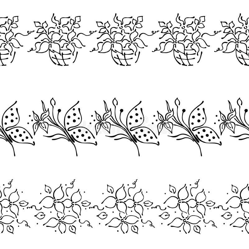 Teste padrão floral tirado do vetor mão sem emenda, quadro colorido da beira infinita com flores, folhas, borboleta Gráfico bonit ilustração royalty free