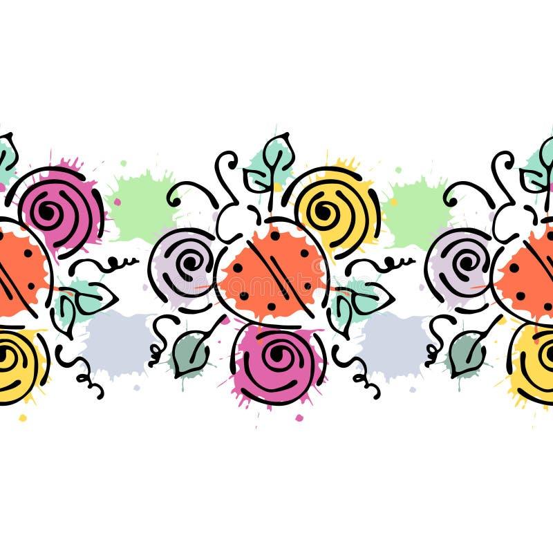 Teste padrão floral tirado do vetor mão sem emenda, quadro colorido da beira infinita com flores, folhas Linha gráfica bonito dec ilustração royalty free