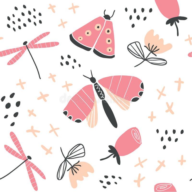 Teste padrão floral tirado mão do vetor com borboletas ilustração royalty free