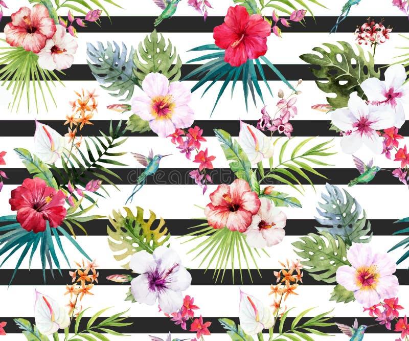 Teste padrão floral tropical da aquarela ilustração stock