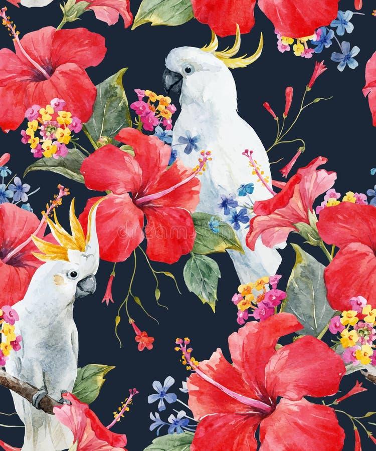 Teste padrão floral tropical do vetor da aquarela ilustração do vetor