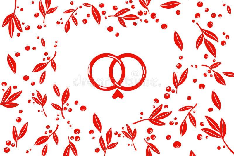 teste padrão, folhas vermelhas, bagas, duas alianças de casamento com coração ilustração do vetor