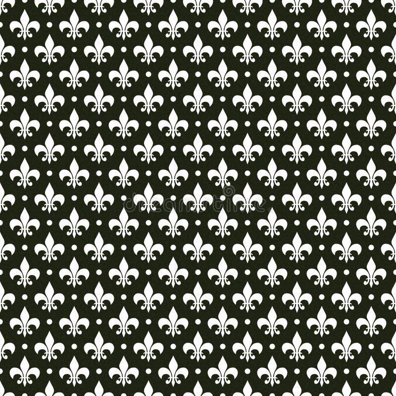Teste padrão francês da flor de lis do vetor preto & branco ilustração do vetor