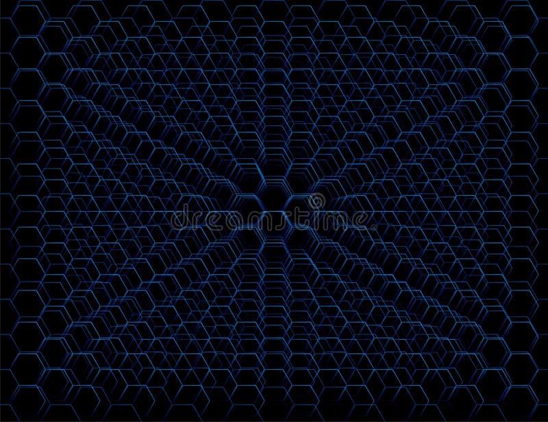 Teste padrão futurista azul abstrato da pilha do favo de mel ilustração do vetor