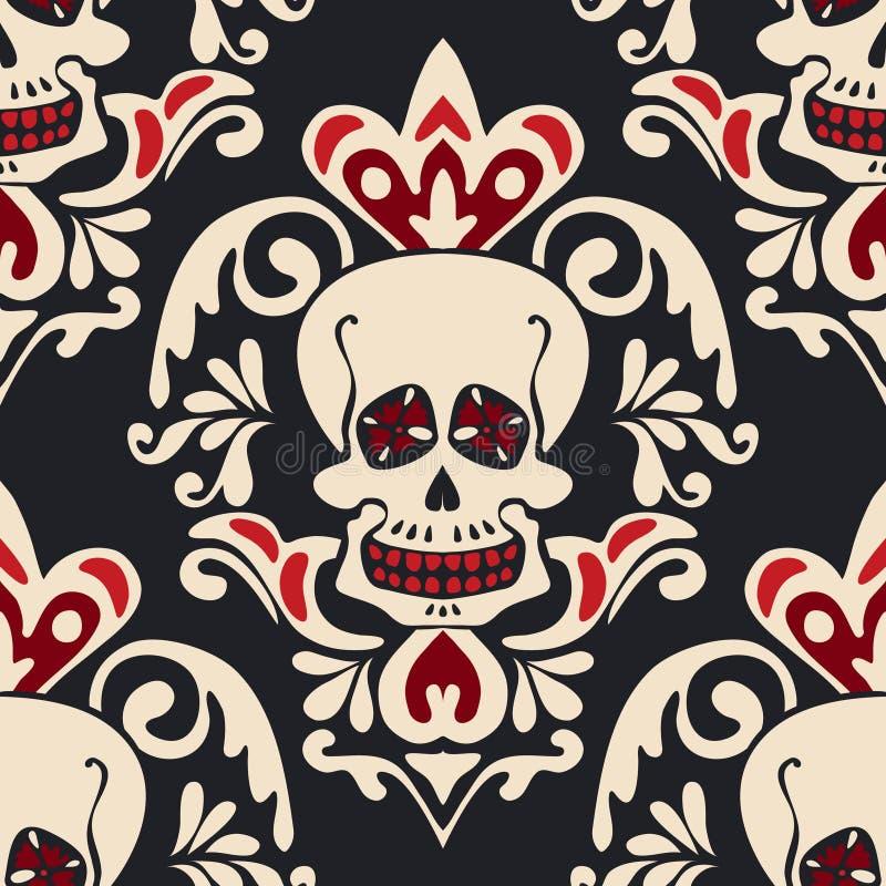 Teste padrão gótico vitoriano do damasco do vetor do crânio ilustração royalty free