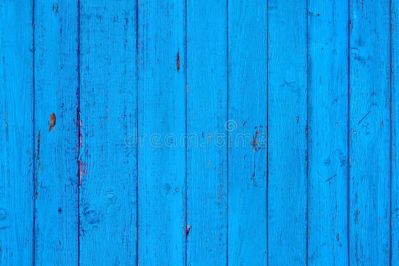 Teste padrão gasto de madeira azul sem emenda As pranchas cianas da estrutura embarcam verticalmente fotografia de stock