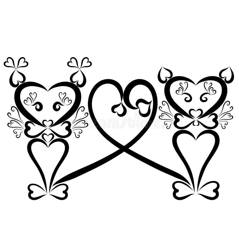 Teste padrão, gatos e amor românticos criativos, corações com ondas ilustração do vetor