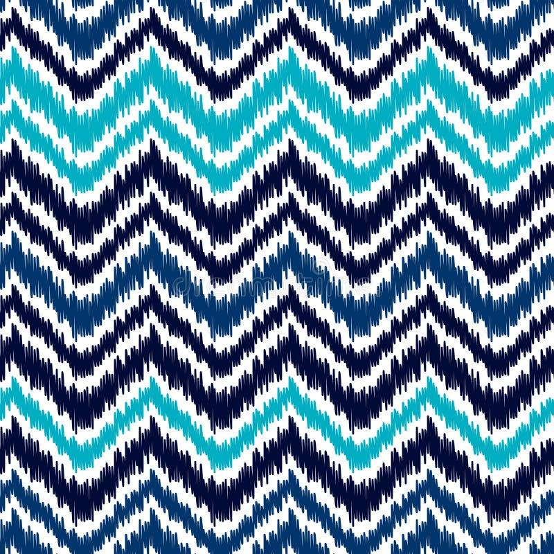 Teste padrão geométrico étnico da viga do sumário azul e branco do ikat, vetor ilustração stock