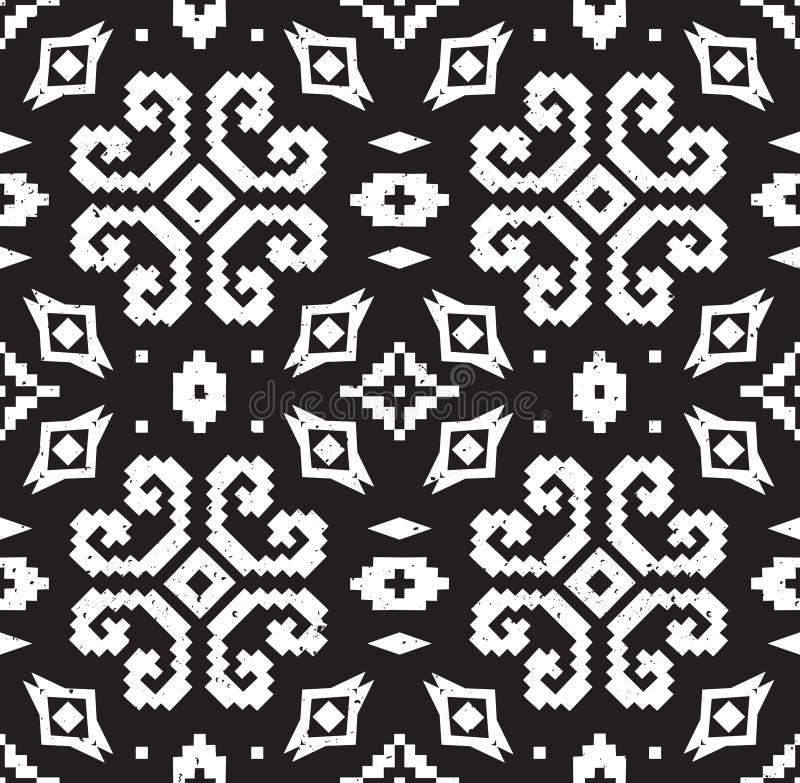 Teste padrão geométrico étnico em cores preto e branco ilustração stock