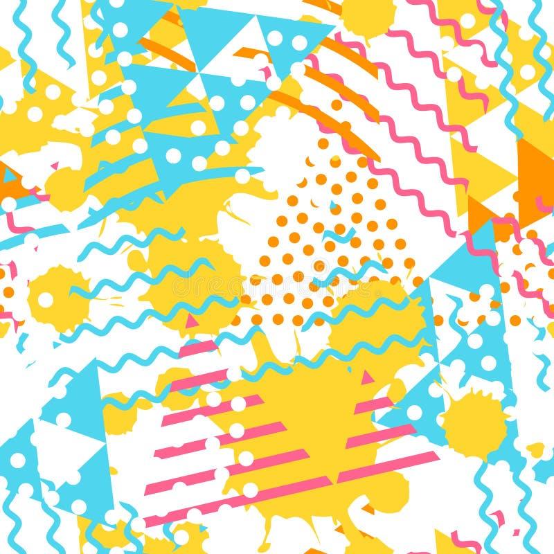 Teste padrão geométrico abstrato com formas do triângulo e textura da mancha do grunge ilustração royalty free