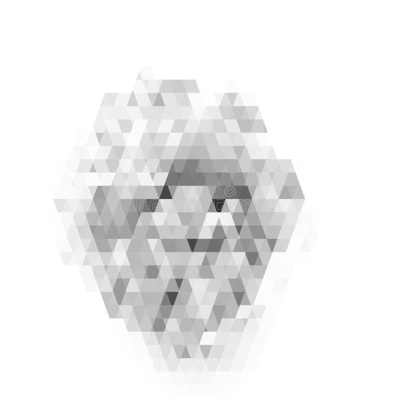Teste padrão geométrico abstrato no fundo branco Teste padrão cinzento do vidro colorido ilustração stock