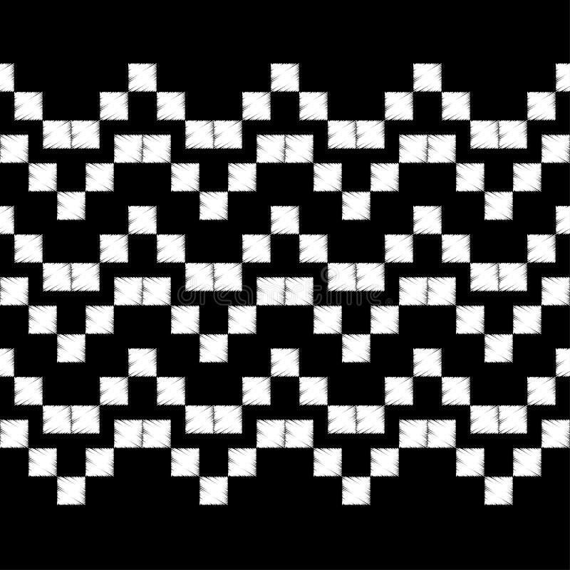 Teste padrão geométrico abstrato sem emenda O teste padrão dos pixéis Textura do mosaico brushwork Choque da mão Textura do garra ilustração royalty free