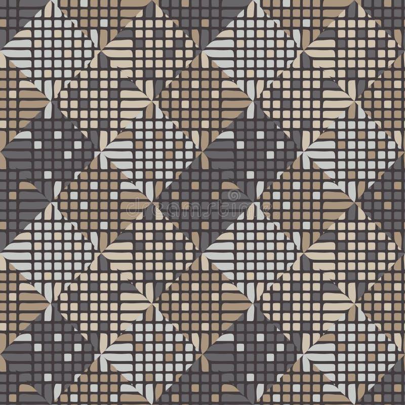 Teste padrão geométrico abstrato sem emenda pixels Textura do mosaico brushwork Choque da mão ilustração stock