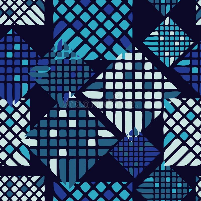 Teste padrão geométrico abstrato sem emenda pixels Textura do mosaico brushwork Choque da mão ilustração royalty free