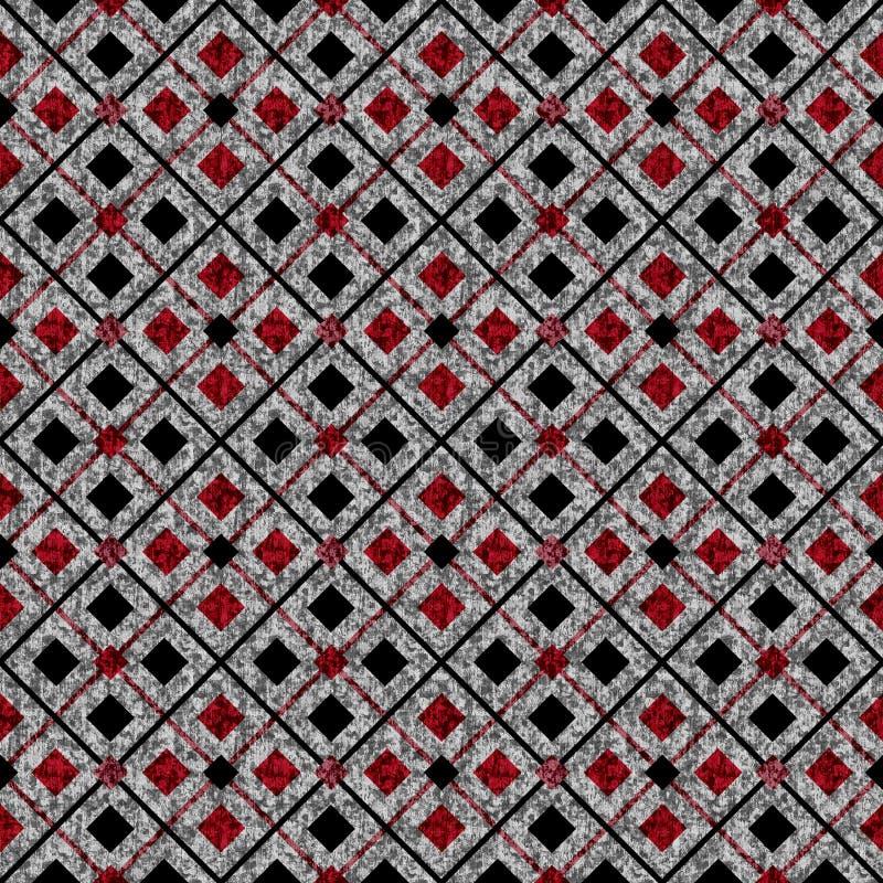 Teste padrão geométrico abstrato sem emenda Quadrados vermelhos, pretos no fundo cinzento ilustração do vetor