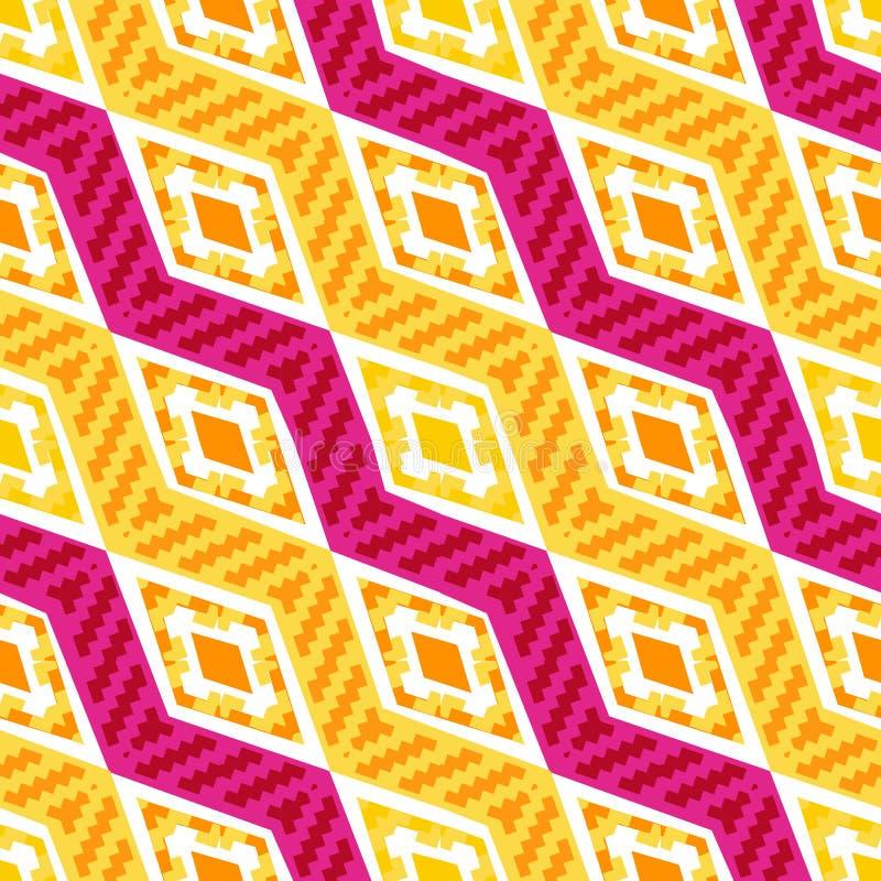 Teste padrão geométrico africano diagonal amarelo e branco ilustração royalty free