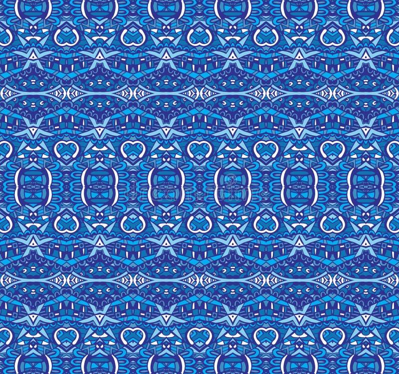 Teste padrão geométrico azul sem emenda listrado étnico ilustração stock