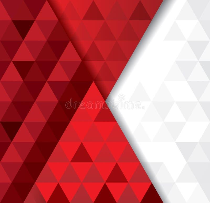 Teste padrão geométrico branco e vermelho, molde abstrato do fundo ilustração do vetor