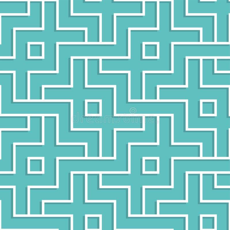 Teste padrão geométrico branco entrelaçado Fundo sem emenda de bloqueio ilustração do vetor