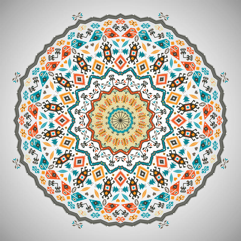 Teste padrão geométrico colorido redondo decorativo dentro ilustração stock