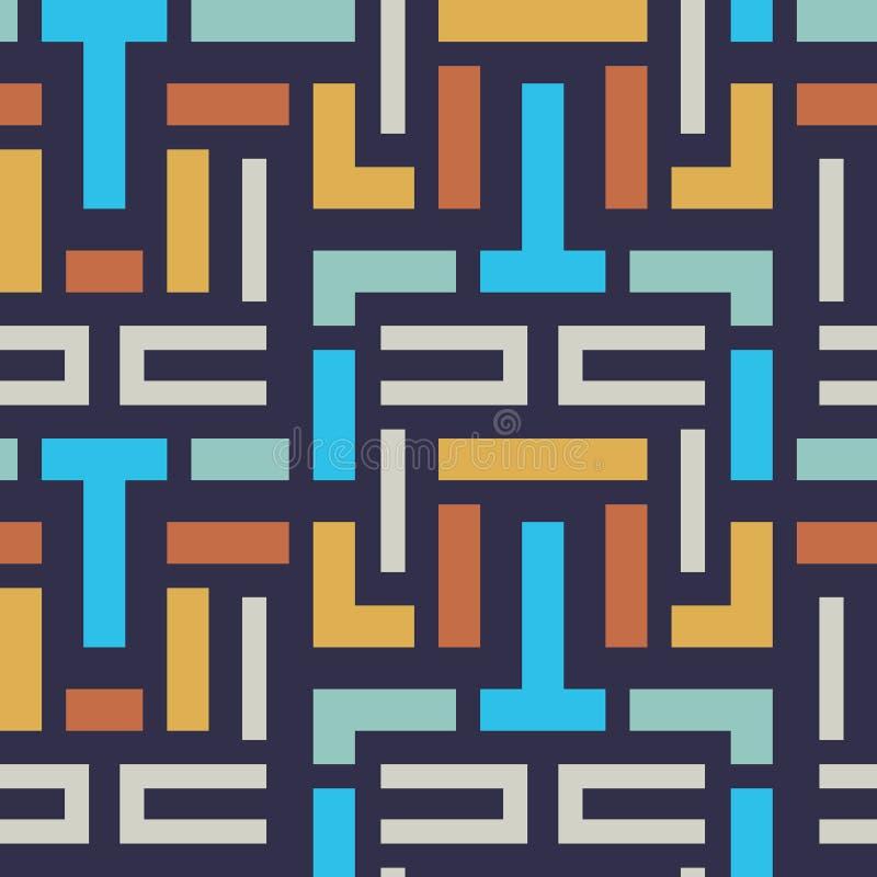 Teste padrão geométrico da tira do vetor sem emenda para o projeto de matéria têxtil ilustração stock