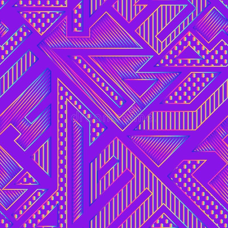 Teste padrão geométrico de néon ilustração do vetor