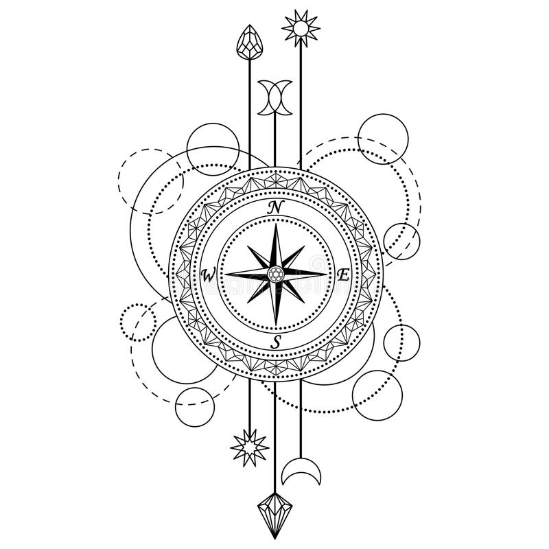 Teste padrão geométrico do compasso ilustração royalty free