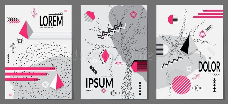 Teste padrão geométrico do estilo na moda de Memphis ilustração stock