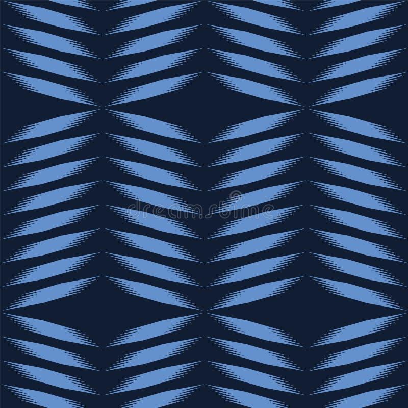 Teste padrão geométrico do shibori da tintura do laço tirado da mão do azul de índigo Repetindo o fundo abstrato do inclinação Ge ilustração do vetor