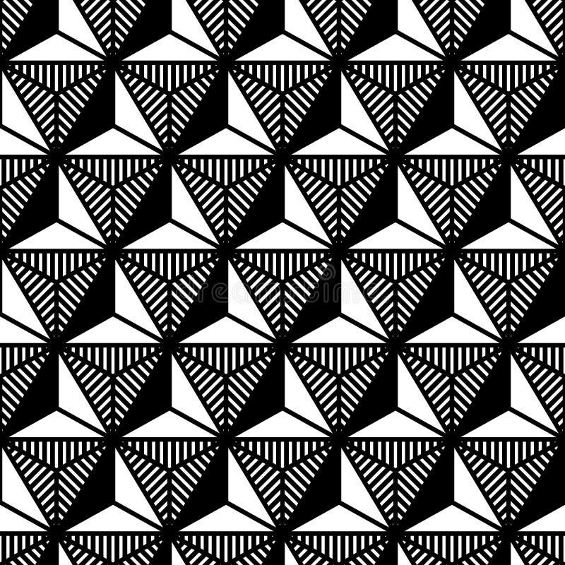 Teste padrão geométrico do triângulo preto e branco abstrato no estilo dos anos 80 ilustração do vetor