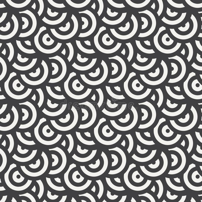 Teste padrão geométrico do vetor, repetindo a forma do círculo com cor branca e preta Gráfico limpe para o papel de parede, tela, ilustração royalty free