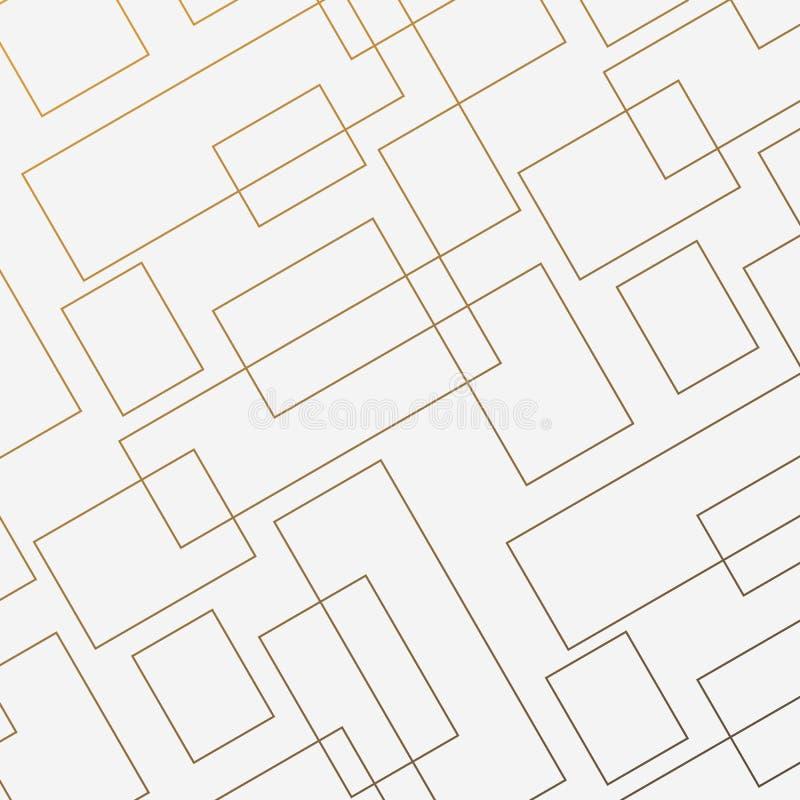 Teste padrão geométrico do vetor, repetindo a forma e o retângulo quadrados lineares finos do diamante Limpe o projeto para o pap ilustração royalty free