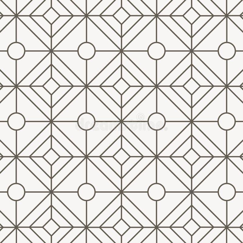 Teste padrão geométrico do vetor, repetindo a forma linear do diamante com forma oval no centro gráfico limpo para o papel de par ilustração royalty free