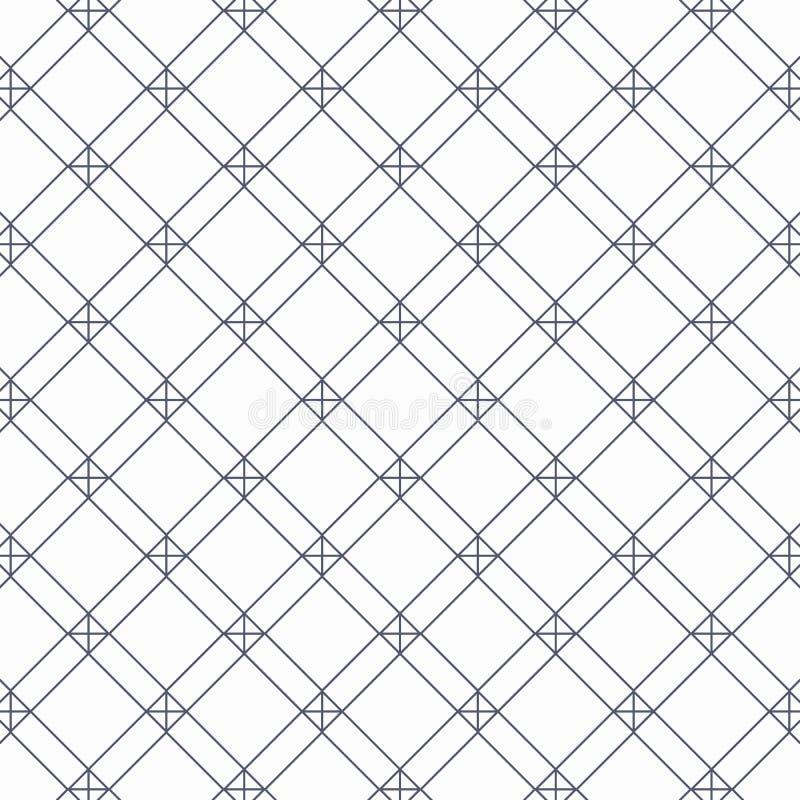 Teste padrão geométrico do vetor, repetindo a forma linear do quadrado e do diamante com cruz em cada canto ilustração do vetor