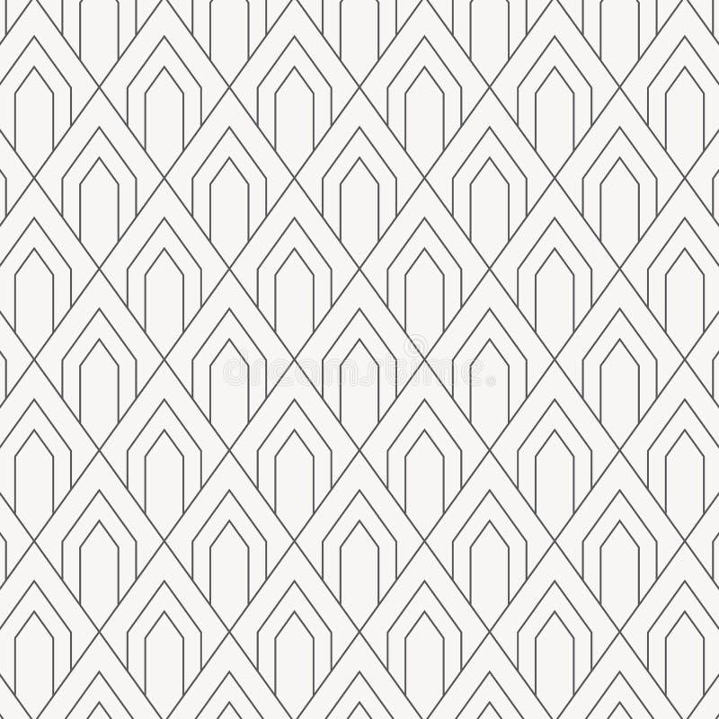 Teste padrão geométrico do vetor, repetindo a forma quadrada do diamante com arco ou peixes ou dragão abstrato da escala ilustração royalty free
