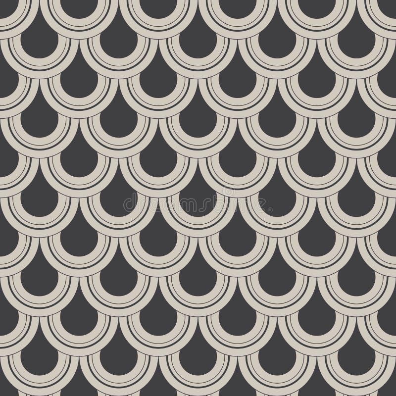 Teste padrão geométrico do vetor, repetindo o círculo ou gota abstrata da água, escala de peixes e cortina O teste padrão está li ilustração royalty free