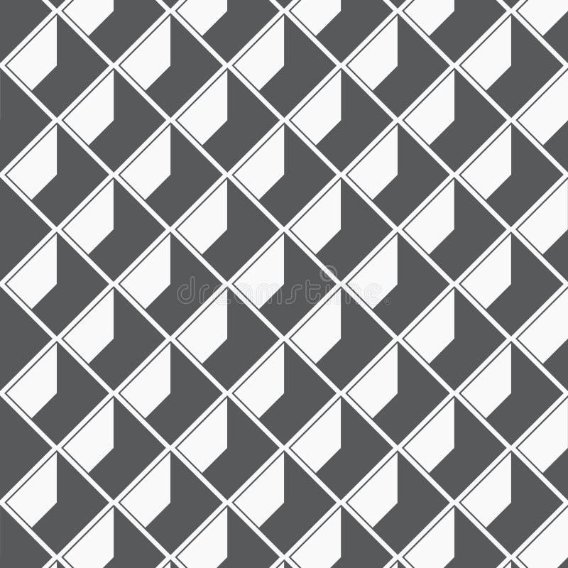 Teste padrão geométrico do vetor, repetindo a textura da forma quadrada do diamante com sombra abstrata, única cor com preto e br ilustração royalty free