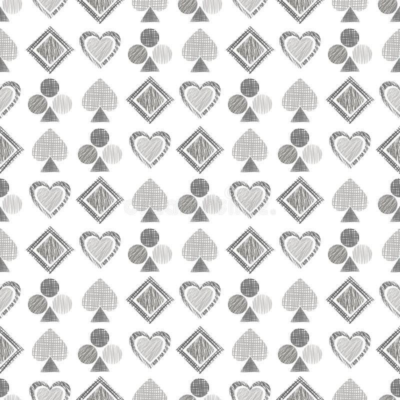Teste padrão geométrico do vetor sem emenda com ícones de cartões de jogo fundo com figuras geométricas textured tiradas mão Gra  ilustração royalty free