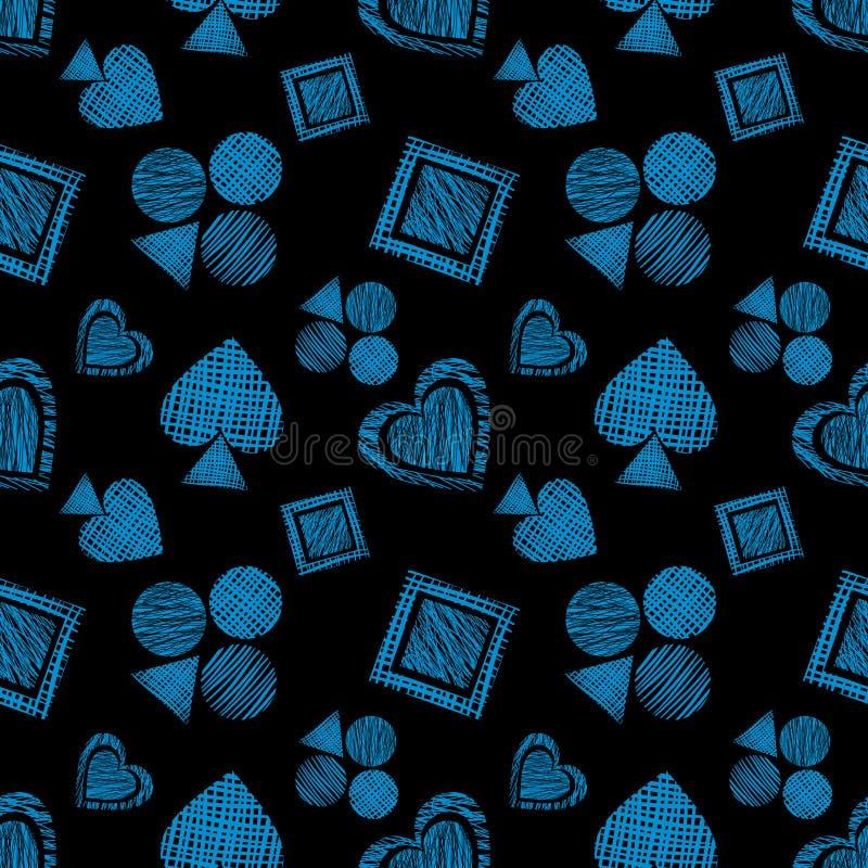 Teste padrão geométrico do vetor sem emenda com ícones de cartões de jogo fundo com figuras geométricas textured tiradas mão Gra  ilustração do vetor