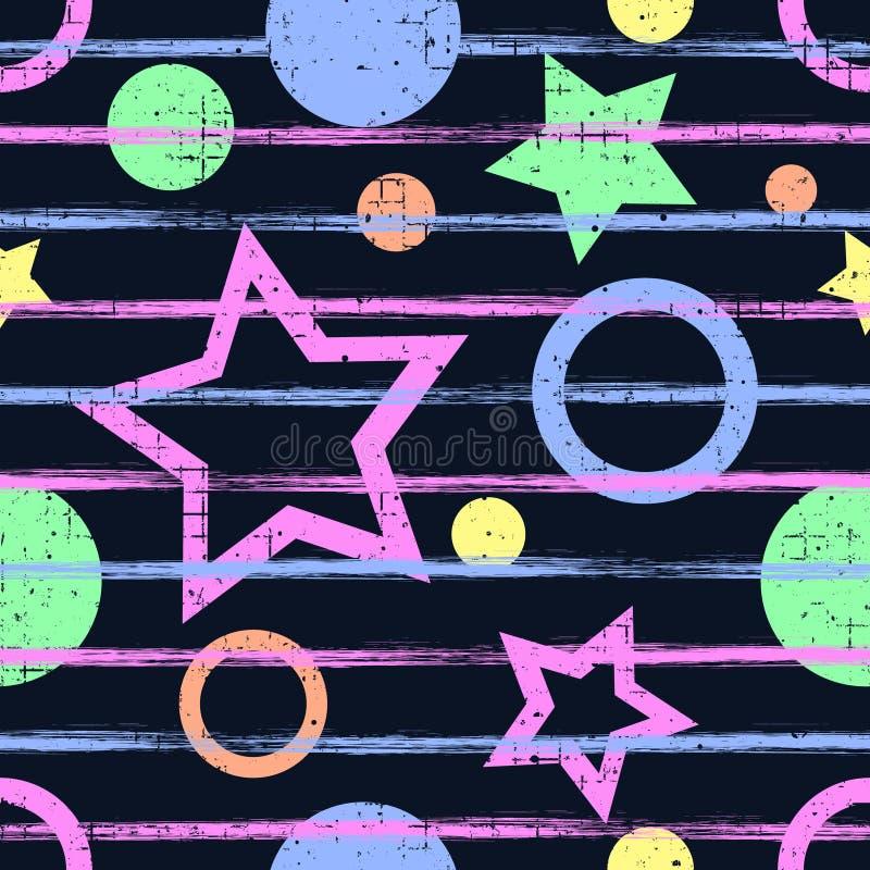 Teste padrão geométrico do vetor sem emenda Fundo infinito azul com figuras, as estrelas e círculos coloridos geométricos, ilustração royalty free