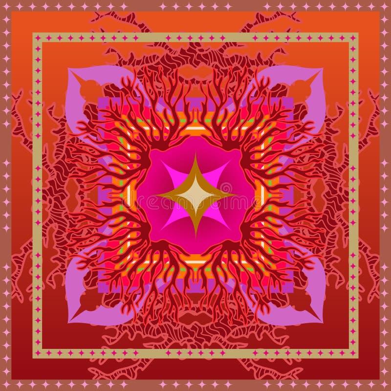 Teste padrão geométrico esquadrado brilhante com motivos indianos da arte ilustração royalty free