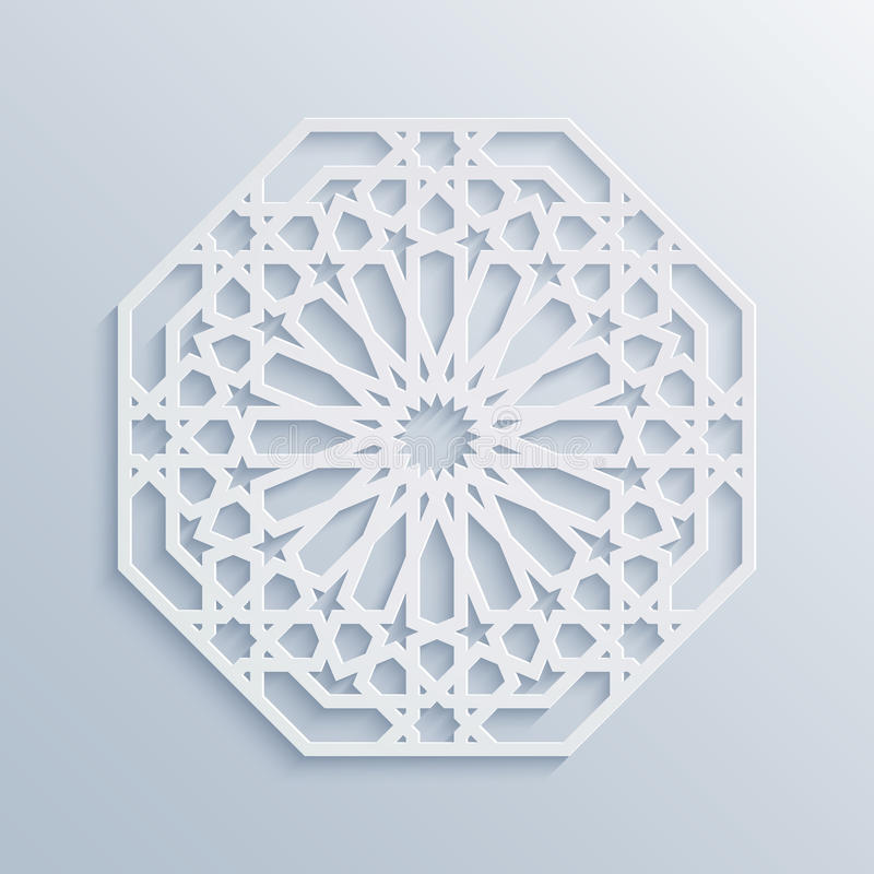 Teste padrão geométrico islâmico Mosaico muçulmano do vetor, motivo persa Ornamento oriental branco elegante, arte árabe tradicio ilustração royalty free