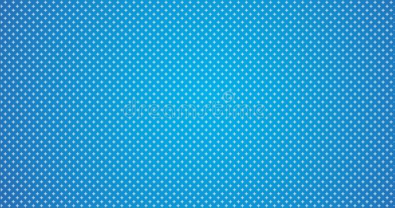 teste padrão geométrico mínimo das cruzes brancas abstratas no fundo azul do inclinação ilustração stock