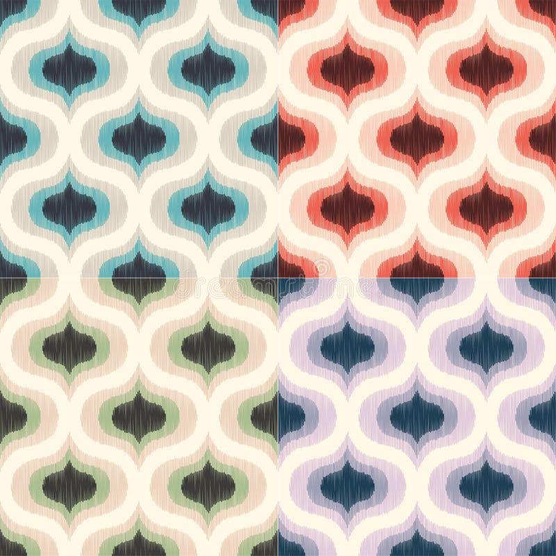 Teste padrão geométrico meados de retro do papel de parede do século 70s Fundo sem emenda da textura colorida funky ilustração do vetor
