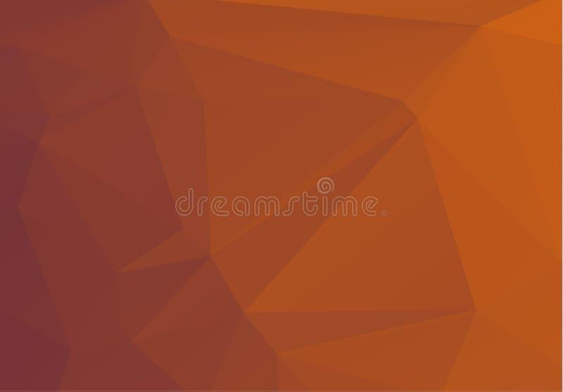 Teste padrão geométrico multicolorido abstrato do inclinação alaranjado, marrom Fundo dos triângulos Sumário poligonal da quadric ilustração do vetor