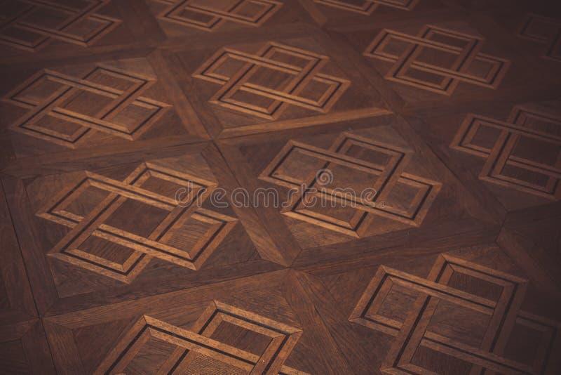 Teste padrão geométrico no assoalho de parquet marrom retângulos, quadrados, cruzes e linhas Textura, fundo fotografia de stock